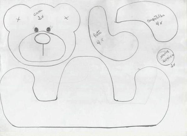 urso em feltro molde navy