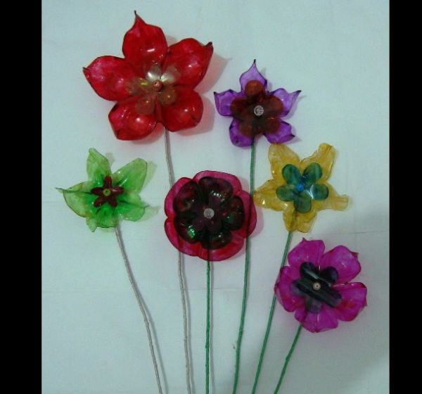 modelos de flor de garrafa pet