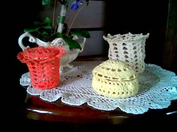 peças de  croche endurecido