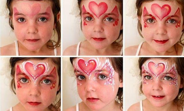 pintura em rosto coração