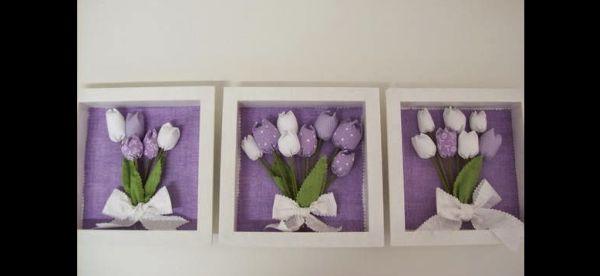 tulipa de tecido no quadro