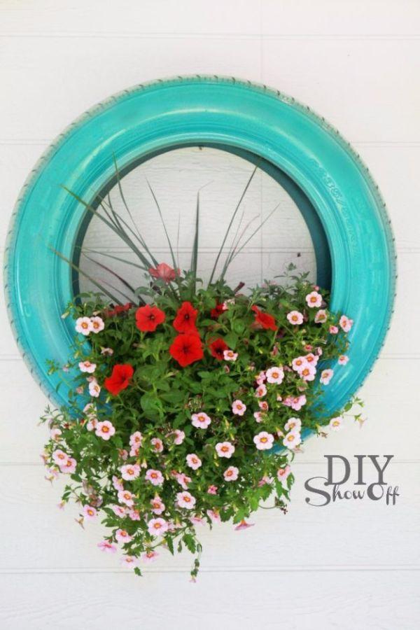 vaso de pneu azul