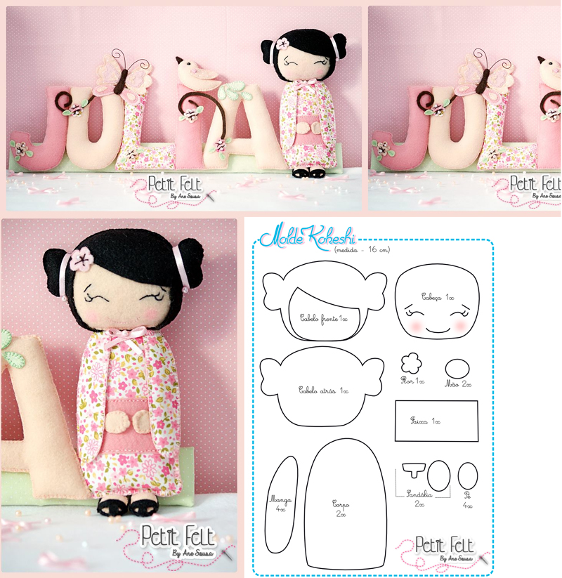 boneca em feltro japonesa