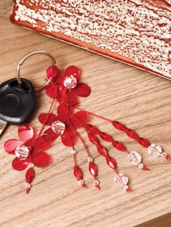 chaveiro de flor de garrafa pet