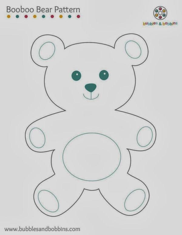 molde de urso em feltro