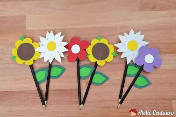 flor em EVA ponteira de lápis