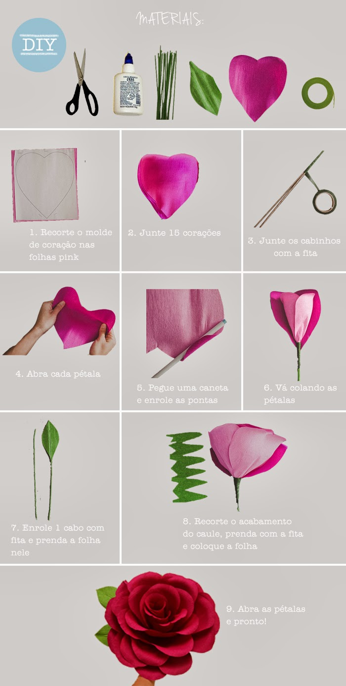 Como fazer rosas de papel artesanato passo a passo for Rosas de papel