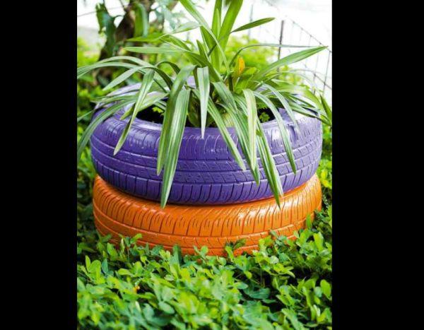 vaso de pneu colorido