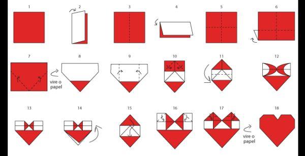 origami de coração como fazer