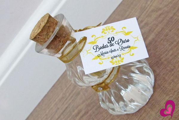 lembrança bodas de ouro frasco