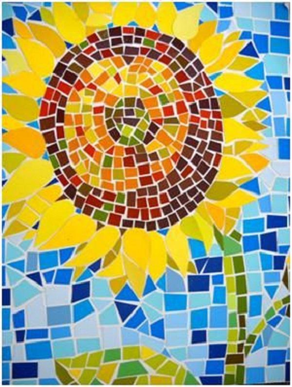 mosaico de papel girassol