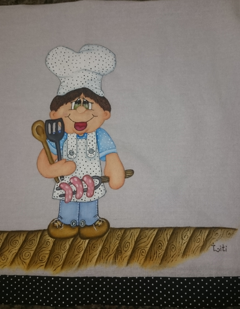 pintura em pano de copa cozinheiro