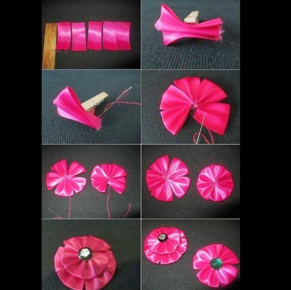 flor de fita de cetim pink