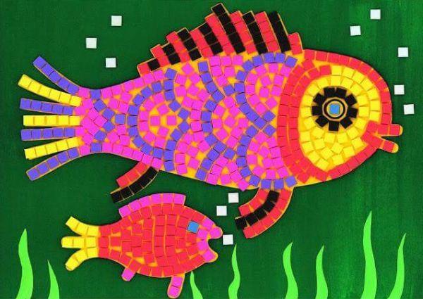 mosaico de papel peixe