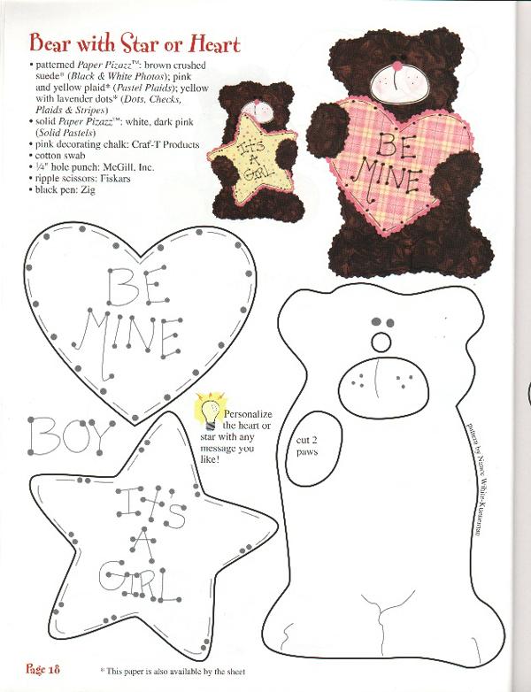 molde de ursinho com feltro com estrela e coração