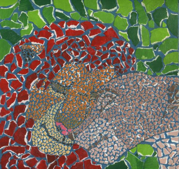 mosaico de papel rei leão