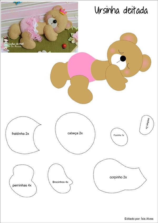 molde de ursinho com feltro deitado