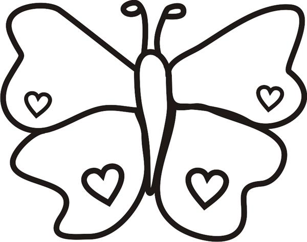 borboleta com coração molde