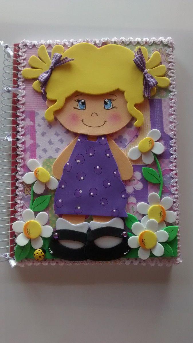 caderno decorado com flores de eva