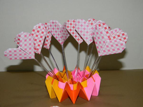 topper origami de coração