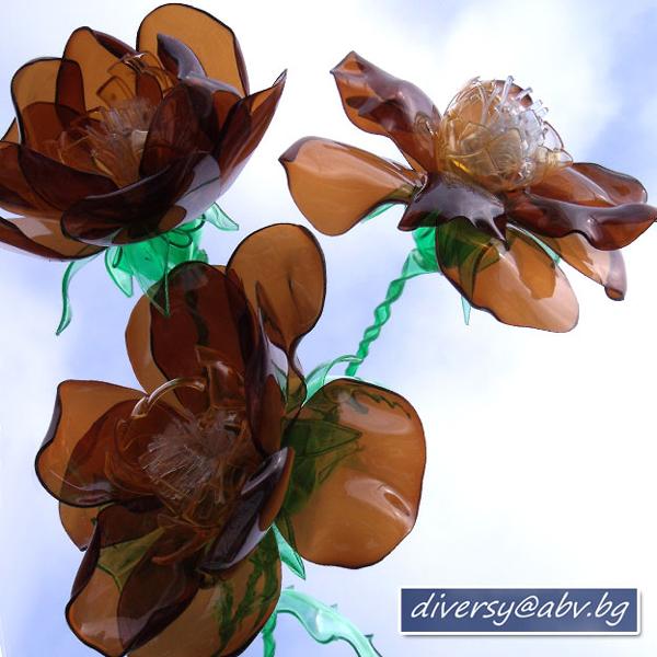 flor de garrafa pet marrom