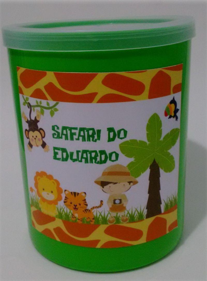 lata de leite decorada safari