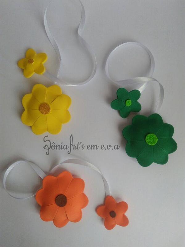 marcador de livro em eva de flor