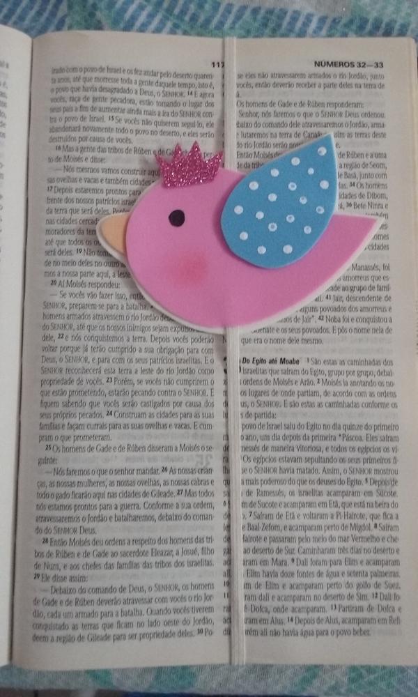marcador de livro em eva de passarinho