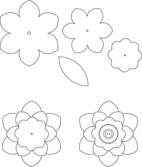 molde flor de papel
