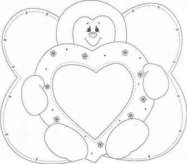 joaninha com molde coração duplo