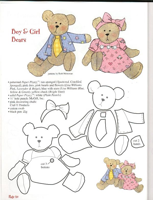 molde de ursinho com feltro casal