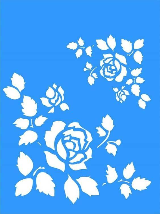 moldes vazados de flores para pintura em parede