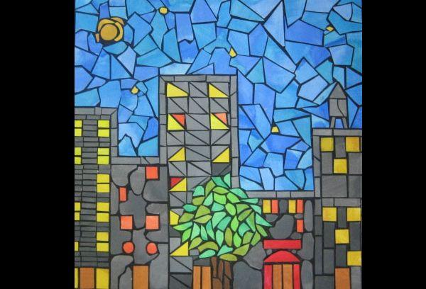 mosaico de papel prédios