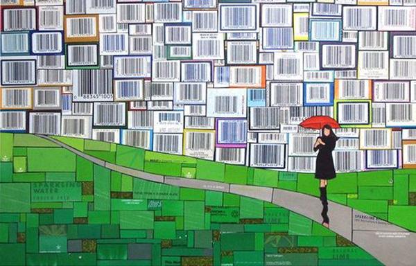 mosaico de papel codigo de barras