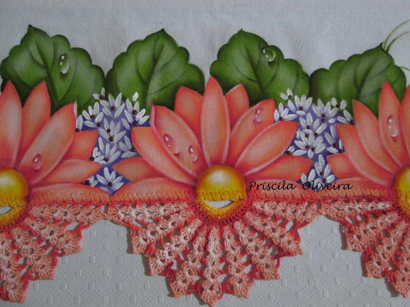 pintura em pano de copa flor com croche