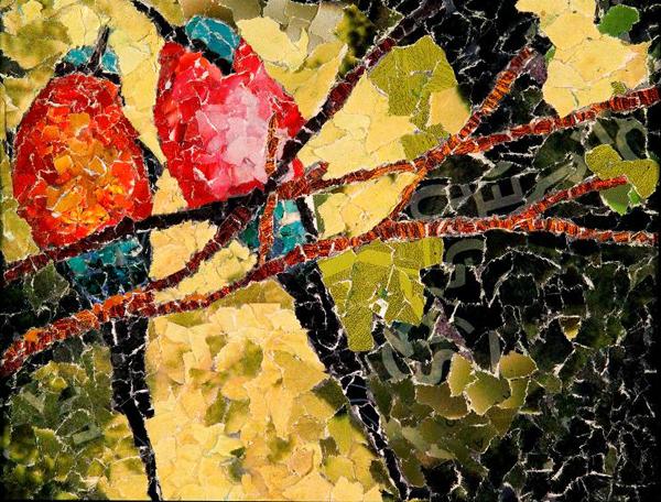 mosaico de papel passarinhos