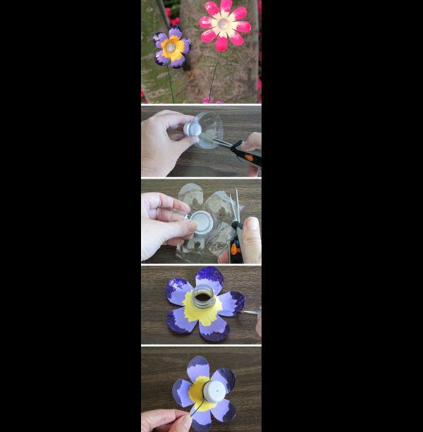 flor de garrafa pet colorida