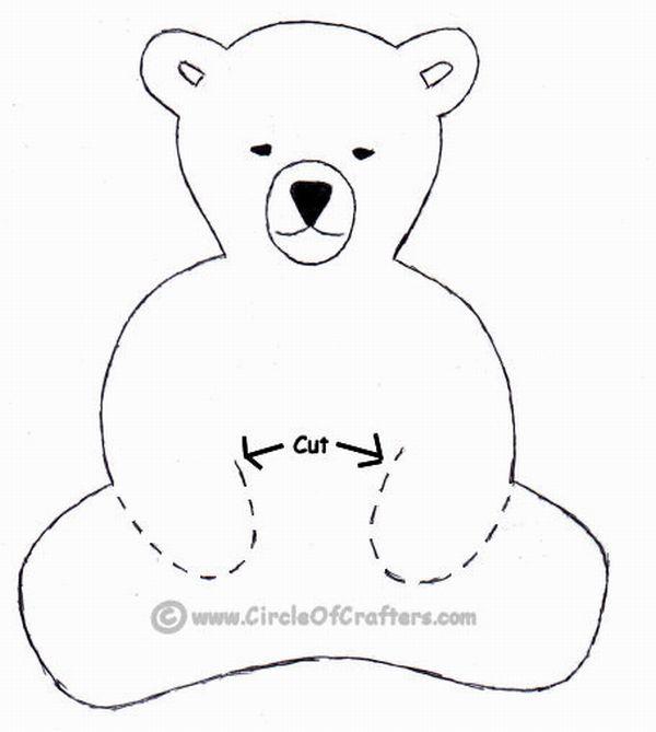 urso em feltro sentado
