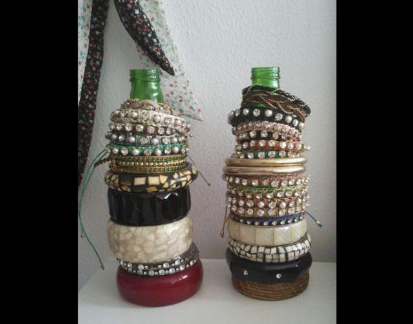 porta joias com garrafa