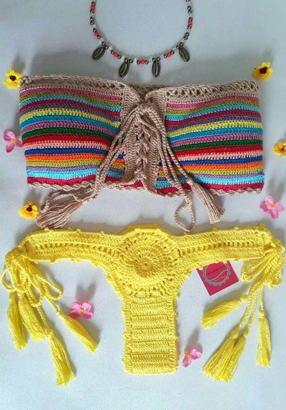 biquíni de crochê cintura alta