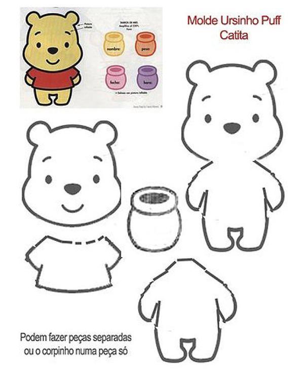molde de ursinho com feltro Pooh