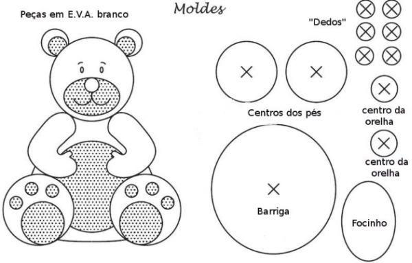 urso em feltro com duas cores