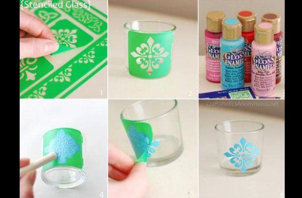 copo de vidro decorado com estencil