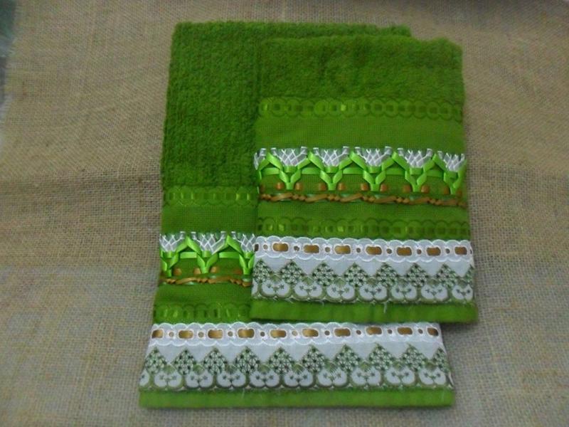 bordado com fitas toalhas