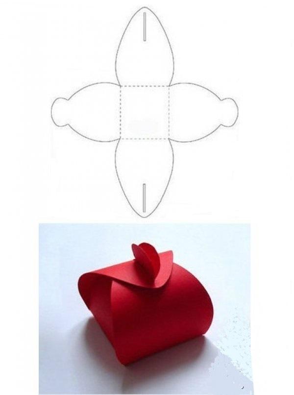 caixa de lembrancinha de papel vermelha