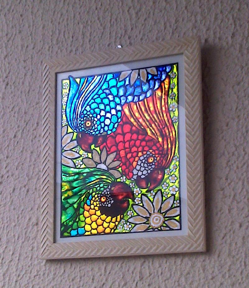 pintura com verniz vitral quadro