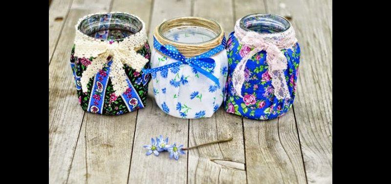 pote de vidro decorado com tecido e fita