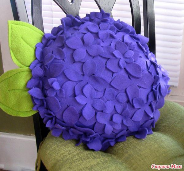 artesanato em feltro almofada flor