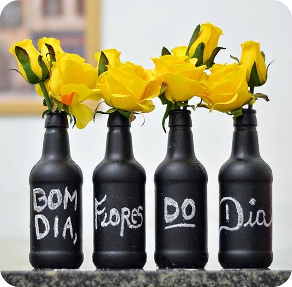 garrafa decorada com giz