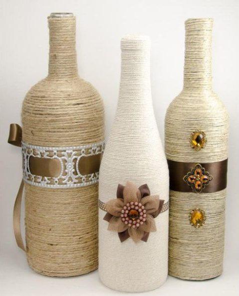 decoração de garrafa com barbante e fita